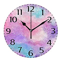 simono 10-inch Round Wall Clocks, Silent Non-Ticking Colorful Watercolor Desk Clock, Battery Operated Easy to Read Clock for Living Room Home Office