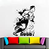 JXNY Football américain Stickers Muraux Rugby Jeu Ball Sport Sport Vinyle Décoration Murale Stickers Garçons Chambre Chambre Décoration Affiche 57x75 cm