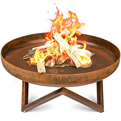 Amagabeli Large Fire Pit 60cm Large Capacity Portable Outdoor Heavy Duty Corten Steel Fire Bowl for Patio Camping BBQ Brazier for Garden Heater Charcoal Wood Burner Log Burning Fireplace