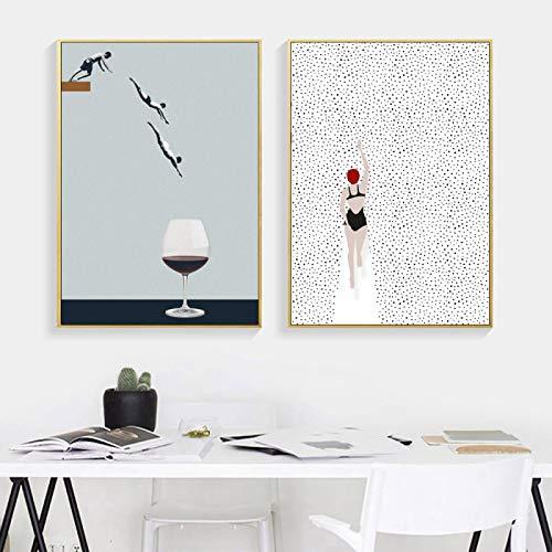 Póster e impresiones Nadar en copa de vino Decoración nórdica abstracta Pintura Arte de la pared Imagen de dibujos animados para la sala de estar Regalo 2 piezas-50x70 cm / 19,7 'x 27,6'Sin marco