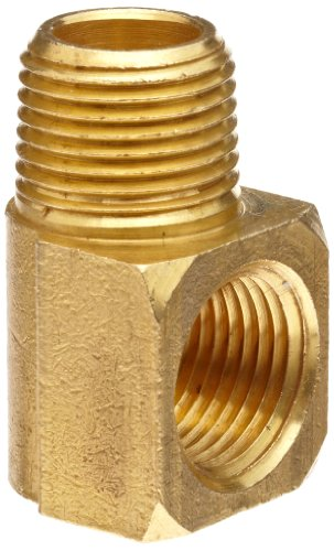 Anderson Metals 56116-04 Brass Pipe Fitting, 90 Degree Barstock Street Elbow, 1/4 Male Pipe x 1/4 Female Pipe