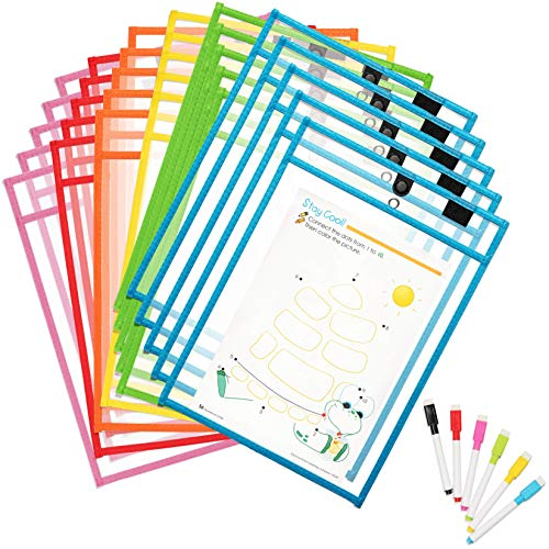 Magnetic Dry Erase Pockets by Two Point (30-Pack + 30 Markers) - Plastic Sleeves | Teaching Supplies | Dry Erase Sheets | Dry Erase Sleeves | School Supplies for Teachers | Office Products