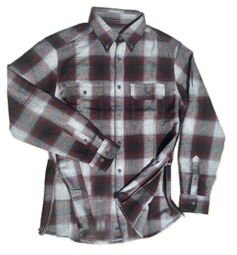 Grey/Black/Maroon Fear of God Inspired Flannel w/ Side Zippers
