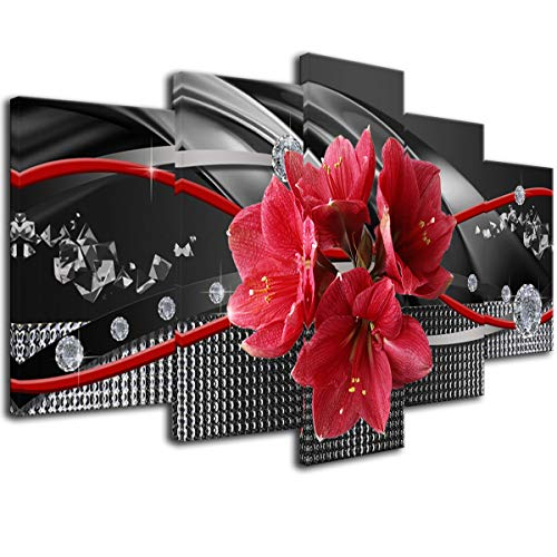 Red Flower Canvas Wall Art Prints Picture Black 5pcs Painting Home Decor Bedroom Ready to Hang Framed Modern Artwork 20x40