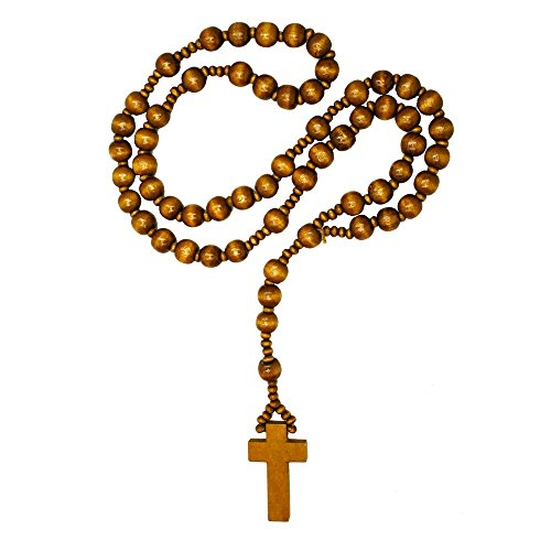 SoulCats Rosenkranz aus Holz in DREI versch. Farben braun schwarz Holzperlen Kette Kreuz, Farbe:braun