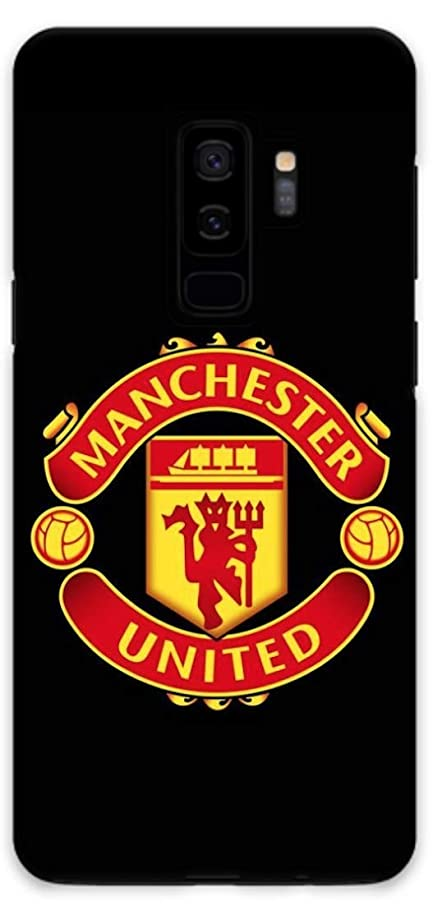 Featuring Manchester United F.C.Football Club Compatible with Samsung Galaxy S9+ Plus Soft Decorative Phone Case Cover Cool Soccer Accessories (B) Black