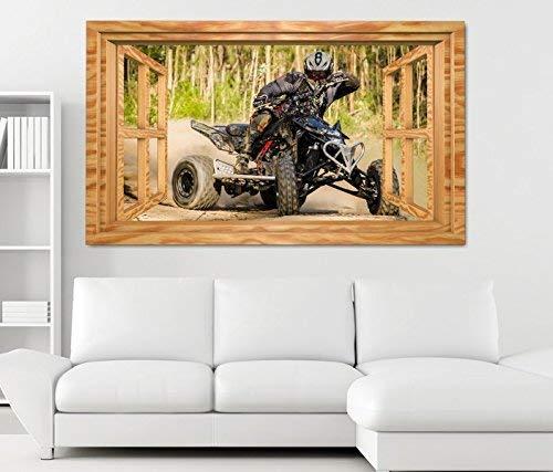 3D Wandtattoo Quad ATV Motorsport Racing outdoor Fenster Wandbild Tattoo Wohnzimmer Wand Aufkleber 11L1887, Wandbild Größe F:ca. 97cmx57cm