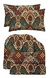 RSH Décor Indoor Outdoor Decorative Tufted U-Shape Chair Cushions & Bonus Pillows for Wicker Furniture (2 - (21' x 21') U-Shape & 2 - Rectangle Pillows, Bohemian Retro Paisley)
