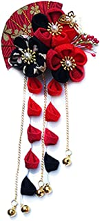 CRB Fashion Womens Girls Japanese Kimono Flower Kanzashi Hair Ornament Tie Band Clip (Red/Black)