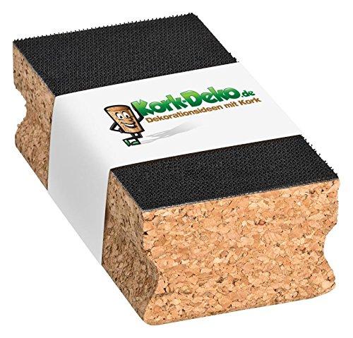 Kork-Schleifklotz mit KLETT-Verschluss (Haftung mit Klett-System) 120x40x60 mm | Schleifblock/Handschleifklotz aus Kork als Halterung für Schleifpapier, Schmirgelpapier, Sandpapier von Kork-Deko