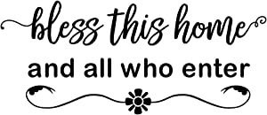 MOVANKRO Bless This Home and All who Enter - Vinyl Wall Decal Entryway Living Room Décor Art Letters Quotes Flower Stencil Motto Mural