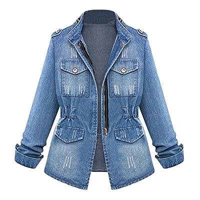 LISTHA Denim Jackets Plus Size Women Loose Zipper Jean Cardigan Pocket Slim Coat from
