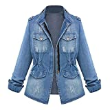 iQKA Women Plus Size Casual Denim Jacket Boyfriend Oversized Zipper Washed Jean Coat(Blue,XX-Large)