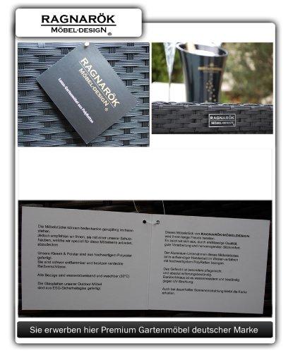 Ragnarök PolyRattan Essgruppe DEUTSCHE Marke - EIGNENE Produktion - Tisch 8 Stuhl 4 Hocker - 8 Jahre GARANTIE auf UV Beständig - Garten Möbel Glas Polster Möbeldesign schwarz Aluminium Rostfrei - 7