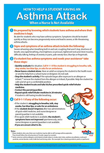 Asthma Attack Poster - How to Help a Student Having an Asthma Attack Quick Reference - Posters for School Nurse - School Health Room Posters - Health Office Posters - 12 x 18, Laminated