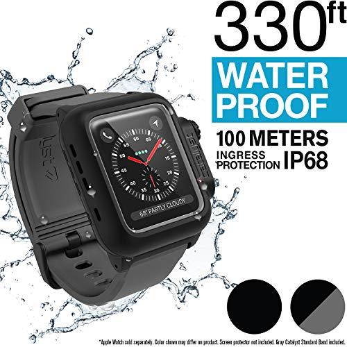 Catalyst wasserdichte Hülle für Apple Watch 42mm, Serie 2&3, für Apple Watch Armband aus Weichem Premium Silikon, Stoßfest und Aufprall Resistent, Schutzhülle, Grau