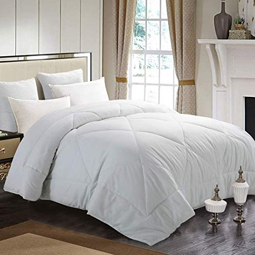 INGALIK All-Season Bed Comforter Best Soft Down Alternative Quilted Comforter - Winter Warm - Machine Washable (White-Ships from USA, Full(82×86inch) Queen(88×88inch))