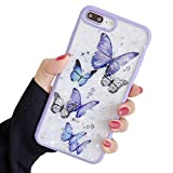 Compatible with iPhone 7/8/SE 2020 Case for Girls,Soft Slim Fit Full-Around Protective Cute Clear Sparkly Bling Star Butterfly Pattern Phone Case Glitter Cover for iPhone 7/8/SE 2020 4.7'' -Purple