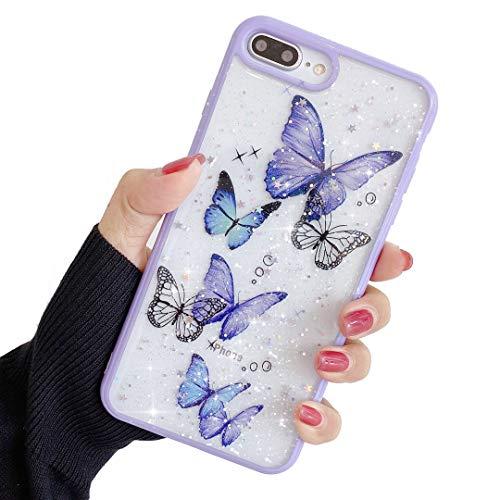 ZTUOK, custodia compatibile con iPhone 7 Plus/8 Plus, per ragazze, morbida e sottile, protezione integrale e carina, con motivo a farfalla, con glitter, per iPhone 7 Plus/8 Plus, colore: viola