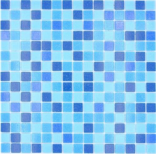 Azulejos de mosaico de cristal, mezcla de vidrio, mezcla de vidrio azul turquesa y papel pegado para piscina, mosaico clásico mezcla de vidrio, blanco y azul