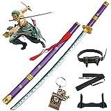 One Piece Roronoa Zoro COS Juego de espadas de madera Espadas samuráis japonesas Armas Modelo de utilería Amantes del anime Katanas Props Juguetes ABS decorativos con llavero (104cm / 41in)