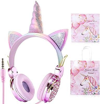 Auriculares para Niños Unicornio para Niñas, Auriculares con Cable para niños de 85dB Volume Limited, Navidad/Regalo de Cumpleaños para Niñas, Auriculares para Kindle/iPad