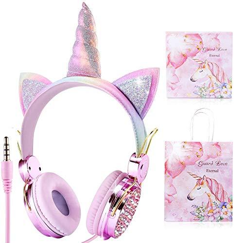 Cuffie per bambini Unicorn, Sunvito Orecchio sopra con orecchie di gatto incandescente a LED, 85dB Volume, Kids Unicorn Cuffie ispirate al gatto per ragazze