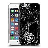 Head Case Designs Licenciado Oficialmente Manchester City Man City FC Negro Blanco Mono Insignia de mármol Carcasa de Gel de Silicona Compatible con Apple iPhone 6 Plus/iPhone 6s Plus
