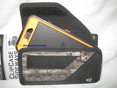 Nite Ize Black Extended Sideways Camouflage Mossy Oak Ballistic Horizontal Rugged Heavy Duty X-large Holster Pouch W/Durable Fixed Belt Clip Fits Sprint At&t/ Verizon /T-mobile / U.S. Cellular/ Boost Mobile Apple Iphone 6 4.7in. Camo Orange Realtree / Xtra Otterbox Commuter/Defender