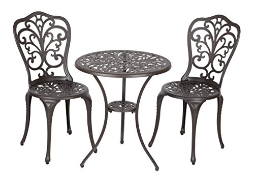 Patio Sense Faustina Patio Bistro Set of 3 | Two Aluminum Chair and Table | Outdoor Furniture |Antique Bronze
