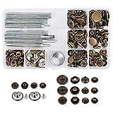 WOWOSS 50 Pezzi Bottoni Automatici in Metallo (10mm/12mm/15mm/17mm) e 9 Set di Strumenti per l'Installazione di Bottoni, Bottoni Automatici a Pressione per Jeans Pelle Cuoio e Tende.