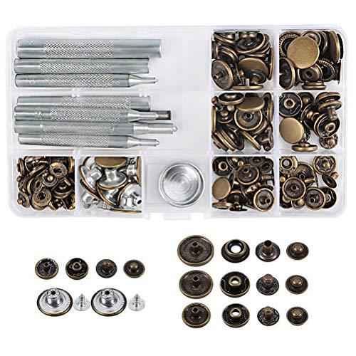 WOWOSS 50 Piezas Botones Metálicos a Presión y Conjunto Botón de Cuero para Botones de Presión de Cobre Remache Herramienta de Herramientas (plata, bronce)