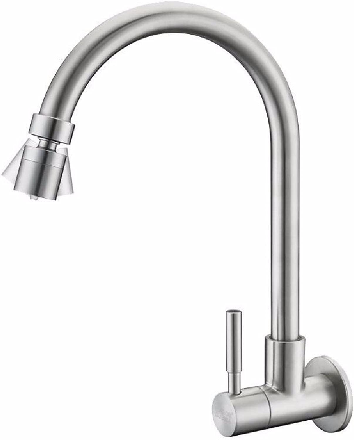 In-Wall Faucet Single Cold 304 Stainless Steel Kitchen Sink Balcony mop Pool can be redated