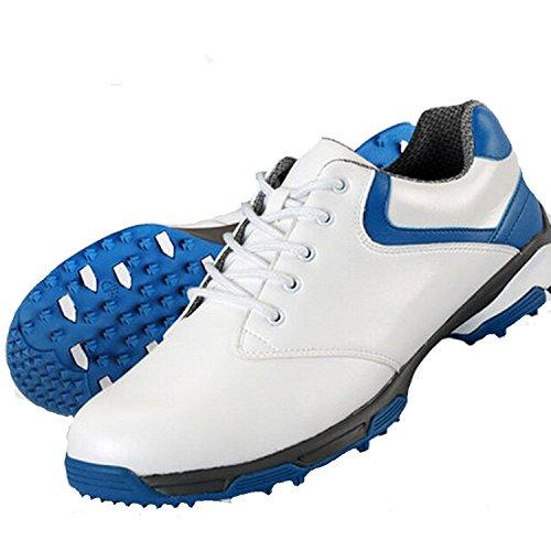 Zapatos de golf para hombre con tacos de PGM. Diseño patentado con suela antideslizante y cuero sintético de microfibra. Se atan con cordones y son impermeables., white-blue, #42
