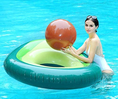 Global Tronics Aufblasbare Avocado Riese mit Wasserball 65in 165cm, Whirlpool Pool Spielzeuge Schwimmen Sommer Sofa Luftmatratze Einhorn Flamingo Strand Schwimmring Party Floß Floatie