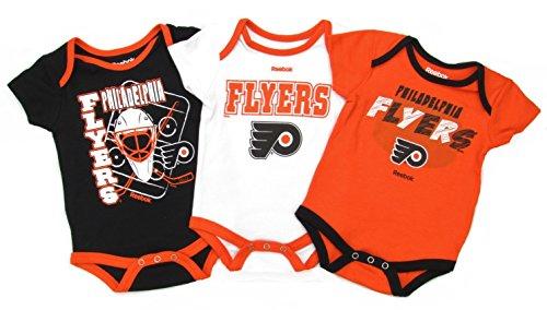 Reebok Philadelphia Flyers 3pc Baby Creeper Bodysuit Set (0-3 Months)