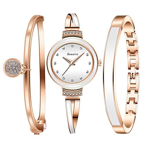 Souarts Montre Femme Or Rose avec Boite avec 2 Bracelet pour Femme Élégant pour Quotidien ou Les Occasions Formelles(Blanc avec Boite)
