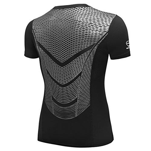 AMZSPORT Camiseta De Manga Corta de Compresión Ropa Deportiva Base Layer para Correr, Silver, S