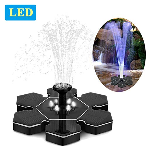 Solar Fountain Pump with LED Lights, Snowflake Shape 2.4W Free Standing Bird Bath Fountain Water Pump, Outdoor Floating Fountain Pump Kit for Garden, Pool, Pond, Patio Ideal Decoration, 8.7' Diameter