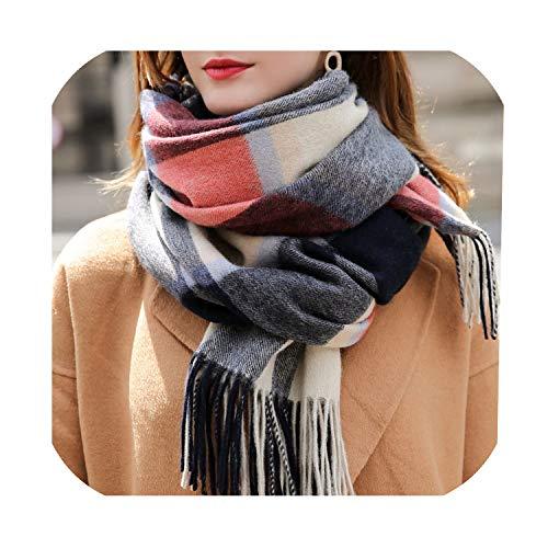 Wollen sjaal voor vrouwen dikker warme sjaals wraps geruit winter wol sjaals Echarpe voor dames