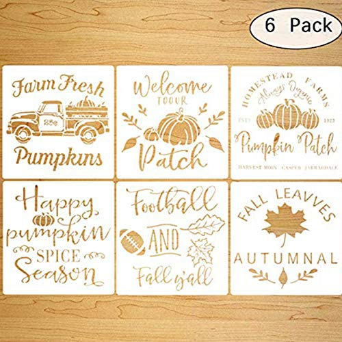6 PCS Fall Stencils for Painting on Wood,Thanksgiving Decor,12 Inches Reusable Floor Tile Stencil for Thanksgiving Decor Fabric Canvas Wall Painting Templates