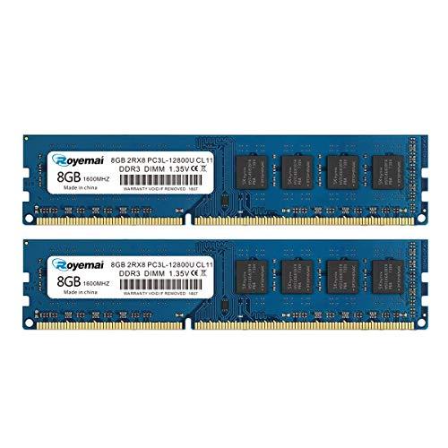 DUOMEIQI 16GB Kit (2X8GB) DDR3-RAM, DDR3 1600 PC3-12800U 8GB DDR3 2Rx8 240-pin Dimm CL11 1,5V Desktop Arbeitsspeicher Module Upgrade