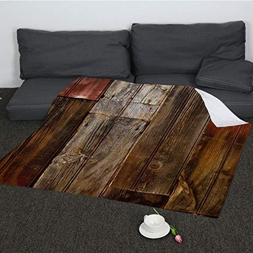 Pmhhc zachte eenvoudige deken voor bedden bank reizen digitale afdrukken oude houten deuren warme deken flanel gooien