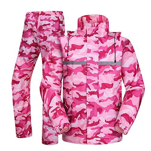 YUYI Regenmantel-Camouflage Regenmantel Für Erwachsene wasserdichte Outdoor-Regenhose Radfahren Motorrad Regenmantel Transparenter Hut Poncho Regenbekleidung Set Damen X @ D_M