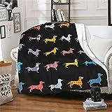 wodealmug Women's Dog Dachshund Throw Blankets Plush Blanket Soft Sherpa Fleece Blanket Adults for Crib Couch Chair Living Room Travel (50'x60',Dog)