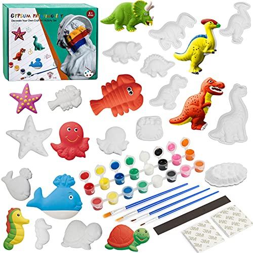 TIGERHU Kit de Peinture Créatif Enfants, Vie de Marin Dinosaures Figurines à Peindre, Comprend 14 Figurines, 16 Pots de Peinture, pinceaux, Palette, Un kit Complet d'artisanat en plâtre