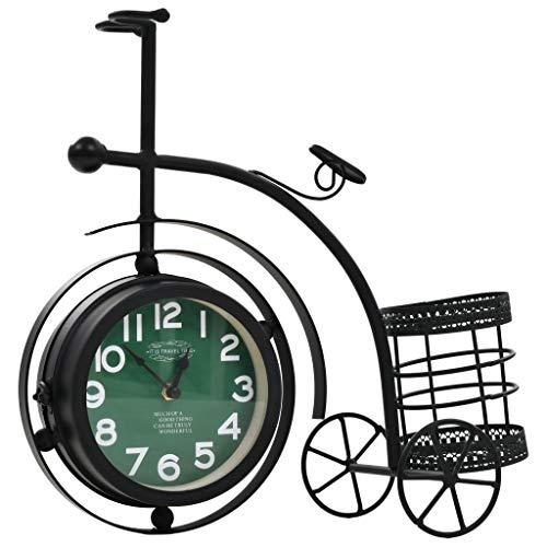 ROMELAREU Uhr Beidseitig Dreirad Nostalgie mit Stifthalter Heim & Garten Dekoration Uhren Wanduhren