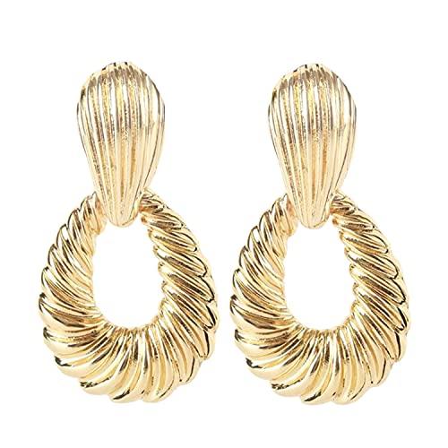 Schmuckanthony Hoernel - Pendientes de aro largos de 7 cm de largo, color dorado