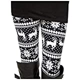 Uaderize Womens Ultra Soft Brushed Christmas Leggings Pants Reindeer Black and White M