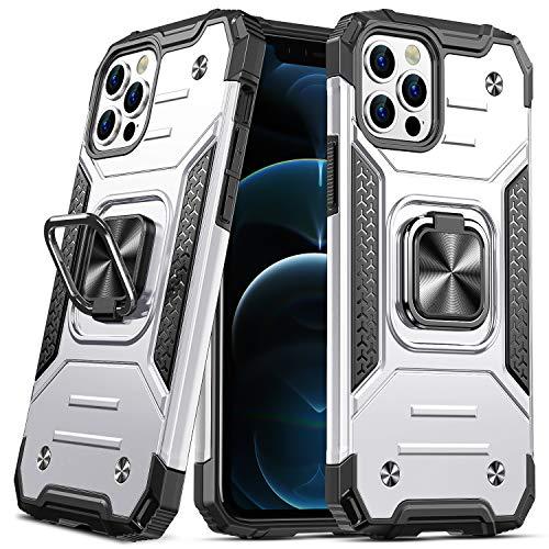 DASFOND Diseñado para iPhone 12 Pro MAX Funda, Funda Protectora para teléfono de Grado Militar con Soporte Mejorado [Soporte magnético] para iPhone 12 Pro MAX 6.7'', Plateado